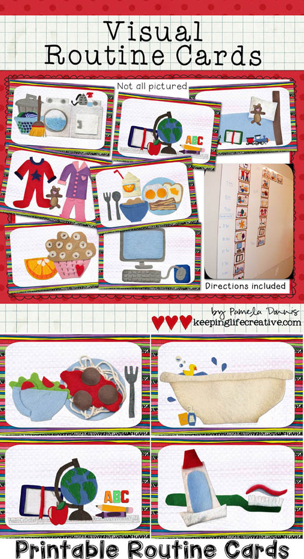 Printable Visual Routine Cards by Keeping Life Creative