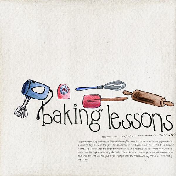 Baking lessons Digital Scrapbook page