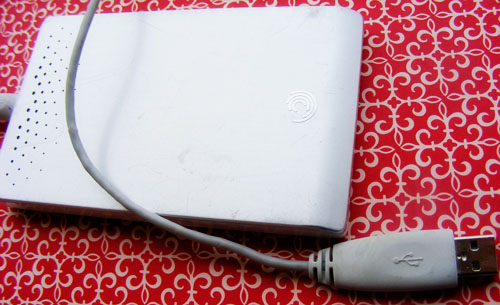 External hard drive holds digital scrapbooking supplies