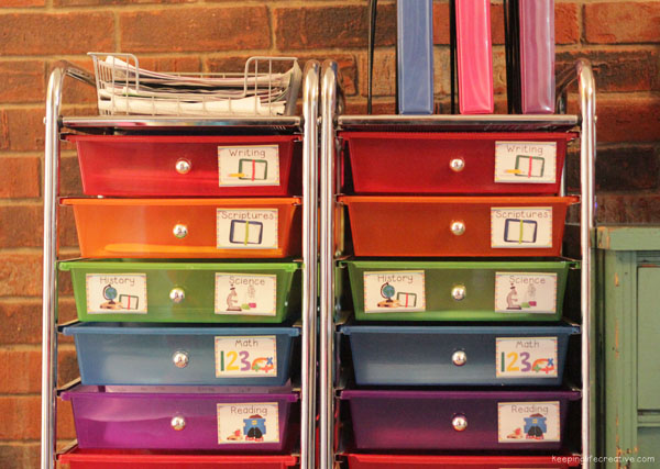 labeled color-coded drawers
