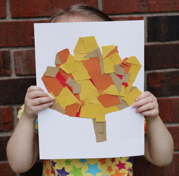 Cut-and-Paste Fall Leaf Collage Art Project for Kids